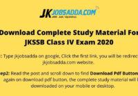 JKSSB Class IV Book Pdf Download