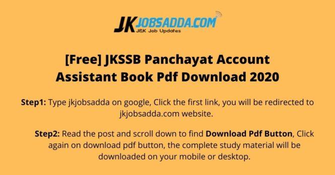JKSSB Panchayat Account Assistant Book Pdf Download