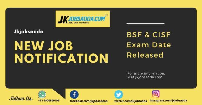 BSF Exam Date 2020 Jammu and Kashmir Written Exam Date Sheet Released