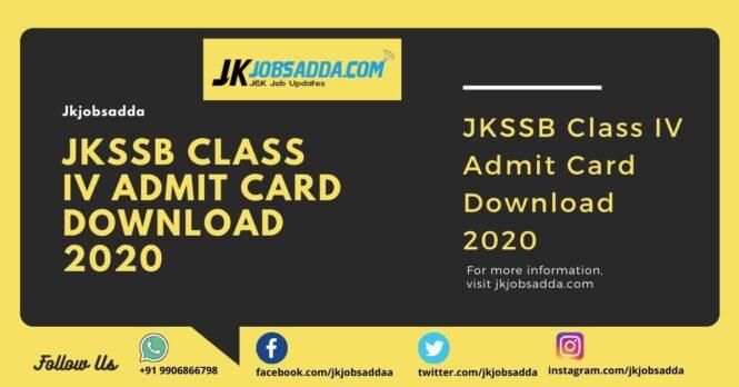 JKSSB Class IV Admit Card Download