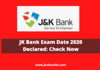 JK Bank Exam Date 2020