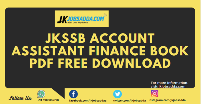 JKSSB Account Assistant Finance Book Pdf Free Download
