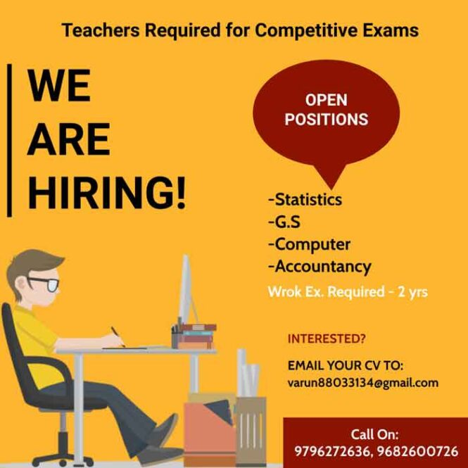 Teachers required for Competitive Exams.