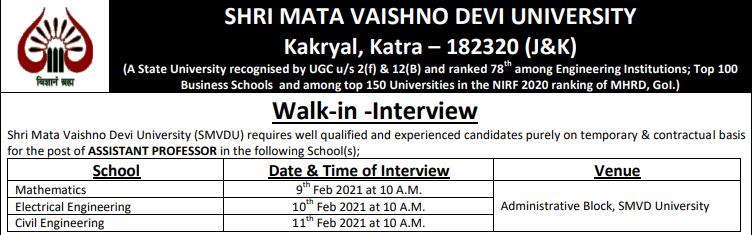 SMVDU Recruitment 2021