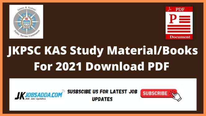JKPSC KAS Study Material/Books For 2021 Download PDF