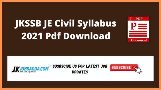 JKSSB JE Civil Syllabus 2021 Pdf Download