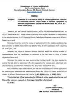 JKSSB Last date Extended for Various posts
